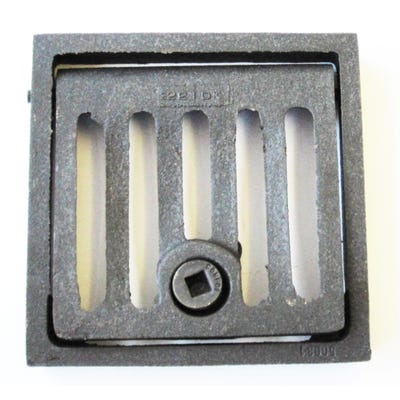 152mm x 152mm x 25mm Gully Grating Square Grid Hinged and Locking Frame Black Coated