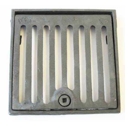 229mm x 229mm x 25mm Gully Grating Square Grid Hinged and Locking Frame Black Coated