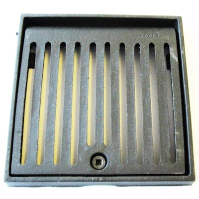 305mm x 305mm x 38mm Gully Grating Square Grid Hinged and Locking Frame Black Coated