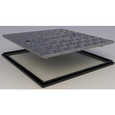600mm x 600mm Clark-Drain 10T GPW Galvanised Steel Solid Top Manhole Cover & Frame