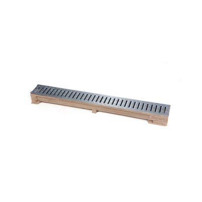1000mm Clark-Drain A15 Polymer Concrete Domestic Channel & Slotted Galvanised Steel Grate