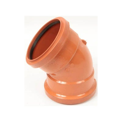 110mm Polypipe 45° Short Radius Bend Double Socket UG403