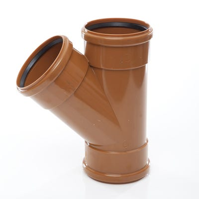 110mm Polypipe 45° Equal Junction Triple Socket UG405