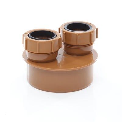 110mm Polypipe 40mm & 40mm Double Waste Adaptor UG492