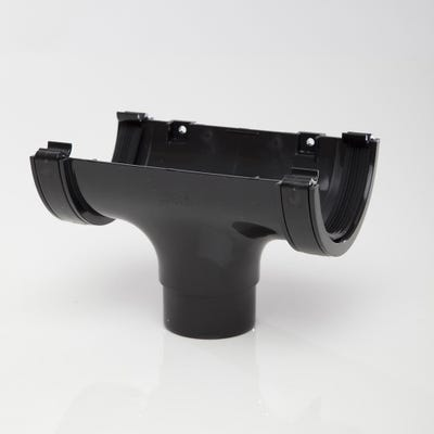 112mm Polypipe Half Round Gutter Running Outlet Black RR105B