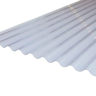 Clear Corrugated PVC Roof Sheet 755mm x 2135mm (7' x 2.5')