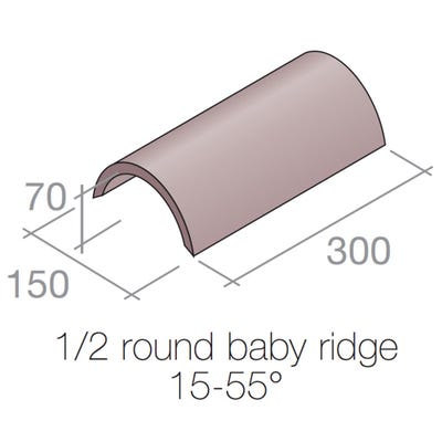 Marley Half Round Baby Ridge Tile Concrete Dark Red 300mm x 150mm