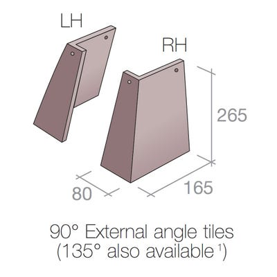 Marley External Angle Tile Concrete Right Hand Dark Red 90° 267mm x 167mm