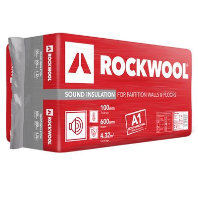 100mm Rockwool Sound Insulation Slab 1200mm x 600mm (4.32m²)