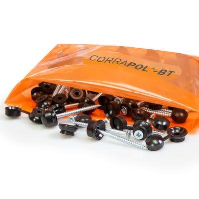 Corrapol Bitumen Black 60mm Screw Cap Fixings Pack of 50