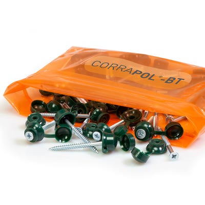 Corrapol Bitumen Green 60mm Screw Cap Fixings Pack of 50