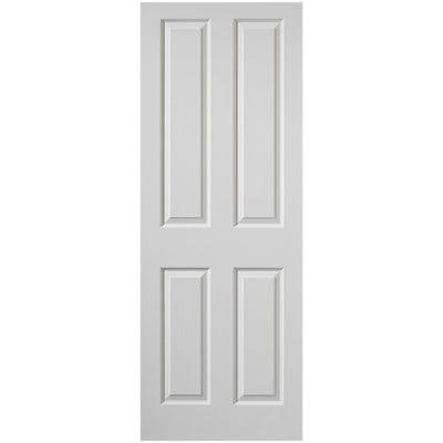 Premdor Internal White Primed Moulded Woodgrain 4 Panel FD30 Fire Door