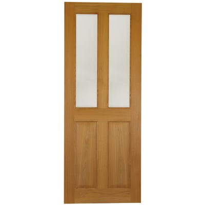Deanta Internal Oak Bury 2L Prefinished Clear Glazed Door