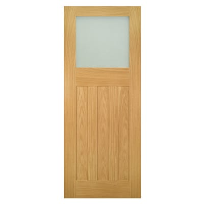 Deanta Internal Oak Cambridge 1L DX Obscure Glazed Door