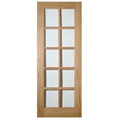 Deanta Internal Oak Bristol 10L Clear Glazed Door