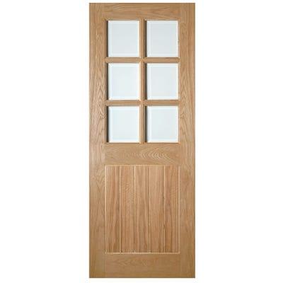 Deanta Internal Oak Ely 6L Clear Glazed Door