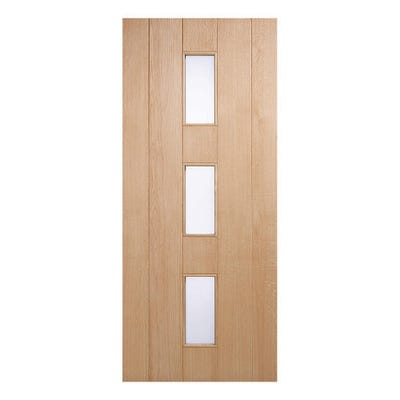 LPD External Oak Copenhagen 3L Frosted Glazed Door