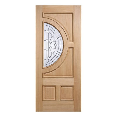 LPD External Oak Empress Zinc Patterned 1L Double Glazed Door