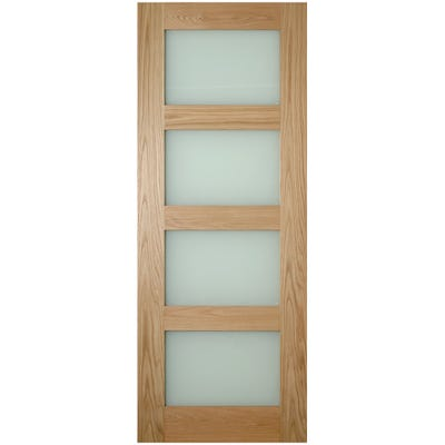 Deanta Internal Oak Coventry 4L Frosted Glazed Door