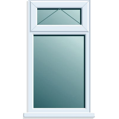 uPVC Window With Top Light Obscure Glass