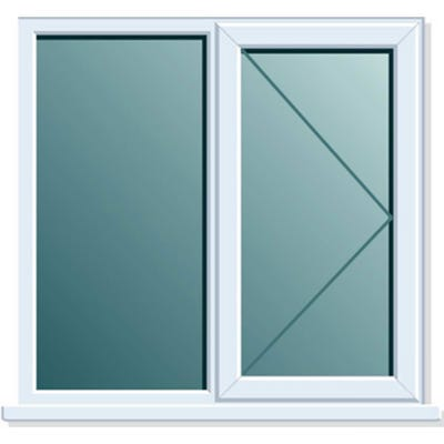 uPVC Window Side+Side Hung RH Open Clear Glass