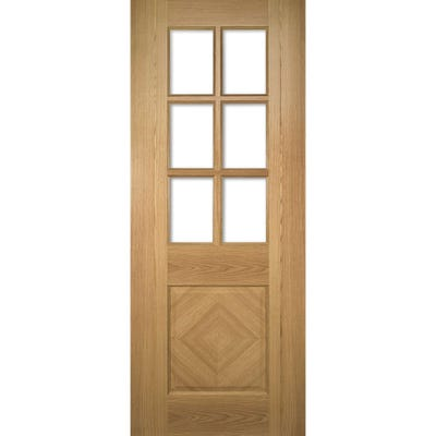 Deanta Internal Oak Kensington Prefinished 6L Clear Glazed Door