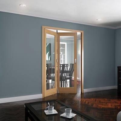 Jeld-Wen Internal Oak Shaker 1L Clear Glazed 2 Door Roomfold