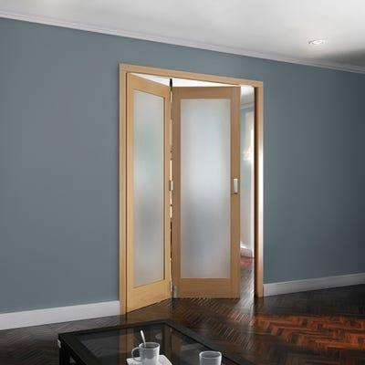 Jeld-Wen Internal Oak Shaker 1L Obscure Glazed 2 Door Roomfold