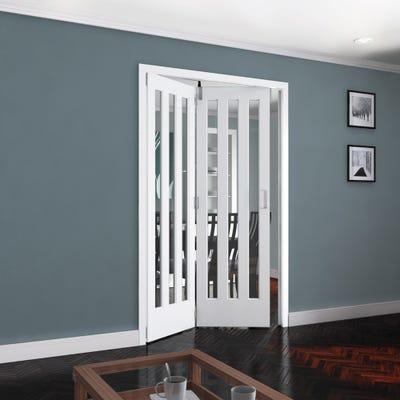 Jeld-Wen Internal White Primed Aston 3L Clear Glazed 2 Door Roomfold 2047 x 1471 x 92mm