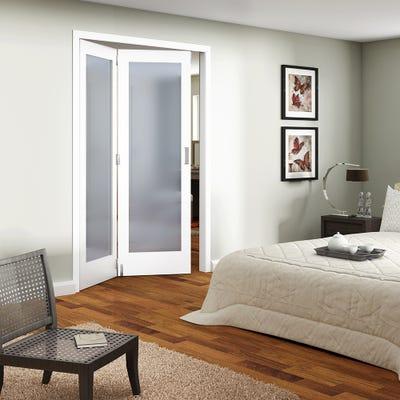 Jeld-Wen Internal White Primed Shaker 1L Obscure Glazed 2 Door Roomfold