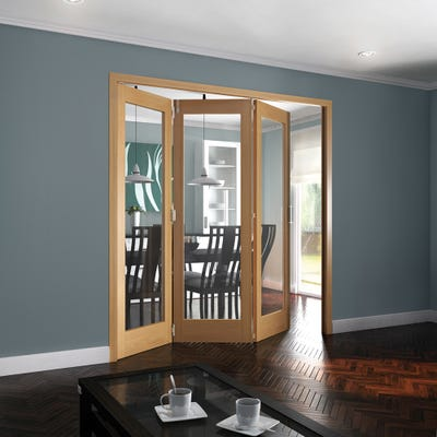 Jeld-Wen Internal Oak Shaker 1L Clear Glazed 3 Door Roomfold