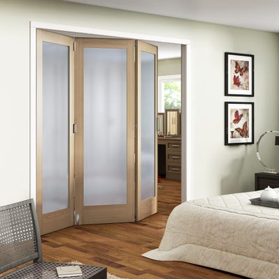 Jeld-Wen Internal Oak Shaker 1L Obscure Glazed 3 Door Roomfold