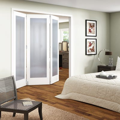Jeld-Wen Internal White Primed Shaker 1L Obscure Glazed 3 Door Roomfold