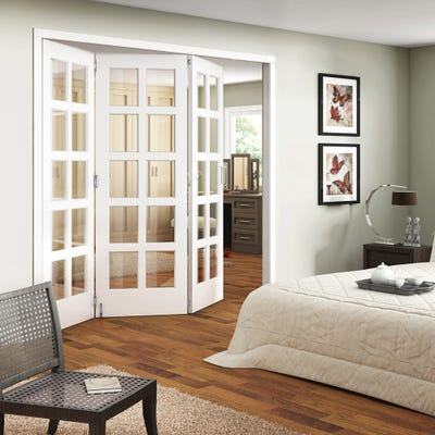 Jeld-Wen Internal White Primed Shaker 10L Clear Glazed 3 Door Roomfold
