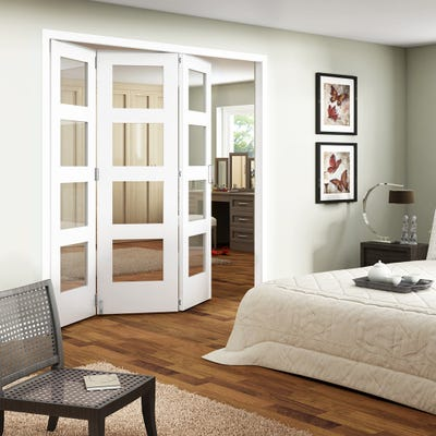 Jeld-Wen Internal White Primed Shaker 4L Clear Glazed 3 Door Roomfold
