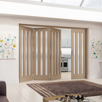 Jeld-Wen Internal Oak Aston 3L Obscure Glazed 4 Door (3+1) Roomfold 2047 x 2849 x 92mm