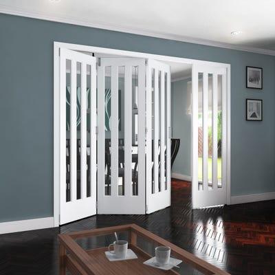 Jeld-Wen Internal White Primed Aston 3L Clear Glazed 4 Door (3+1) Roomfold 2047 x 2849 x 92mm