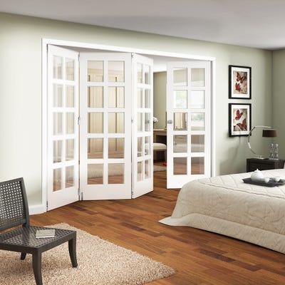 Jeld-Wen White Primed Shaker 10L Clear Glazed 4 Door (3+1) Roomfold