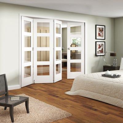 Jeld-Wen Internal White Primed Shaker 4L Clear Glazed 4 Door (3+1) Roomfold