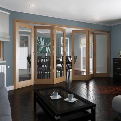 Jeld-Wen Internal Oak Shaker 1L Clear Glazed 6 Door (3+3) Roomfold