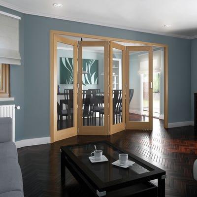 Jeld-Wen Internal Oak Shaker 1L Clear Glazed 4 Door Roomfold