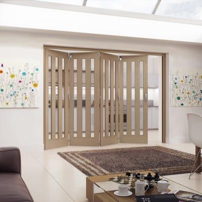 Jeld-Wen Internal Oak Aston 3L Clear Glazed 4 Door Roomfold 2047 x 2849 x 92mm