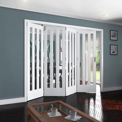 Jeld-Wen Internal White Primed Aston 3L Clear Glazed 4 Door Roomfold 2047 x 2849 x 92mm
