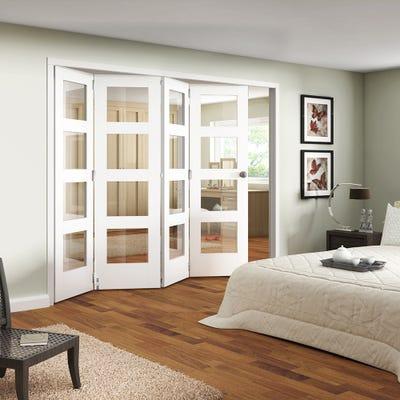 Jeld-Wen Internal White Primed Shaker 4L Clear Glazed 4 Door Roomfold