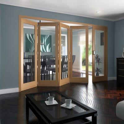 Jeld-Wen Internal Oak Shaker 1L Clear Glazed 5 Door (4+1) Roomfold