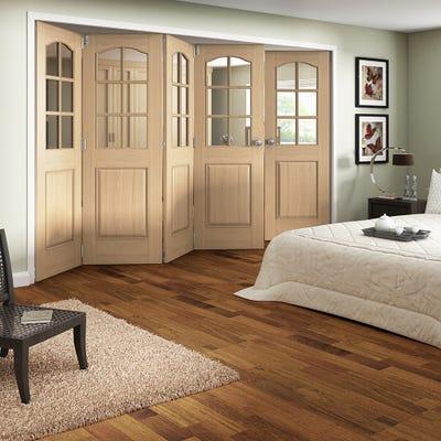 Jeld-Wen Internal Oak Huntingdon 6L Clear Glazed 5 Door (4+1) Roomfold 2047 x 3538 x 92mm