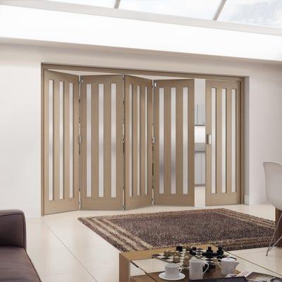 Jeld-Wen Internal Oak Aston 3L Obscure Glazed 5 Door (4+1) Roomfold 2047 x 3538 x 92mm