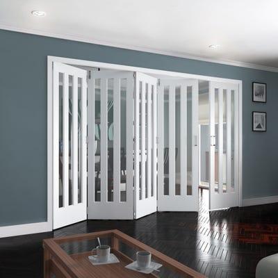 Jeld-Wen Internal White Primed Aston 3L Clear Glazed 5 Door (4+1) Roomfold 2047 x 3538 x 92mm