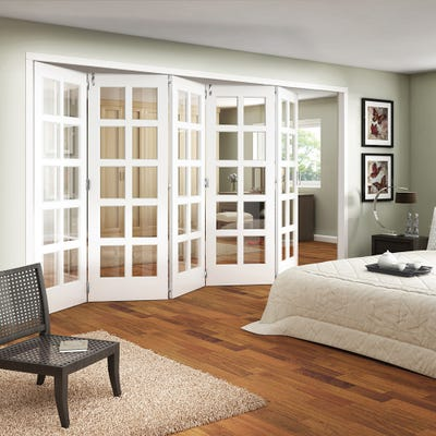 Jeld-Wen Internal White Primed Shaker 10L Clear Glazed 5 Door Roomfold