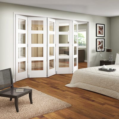 Jeld-Wen Internal White Primed Shaker 4L Clear Glazed 5 Door Roomfold